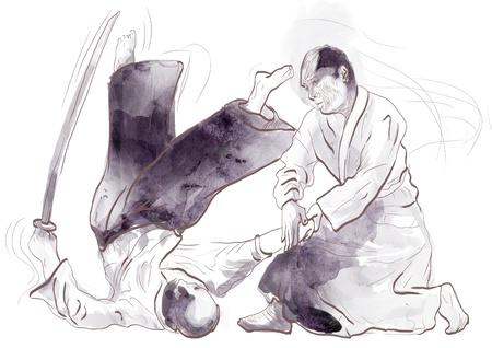 Aikido, Japanese martial art   Original hand drawing Stock Photo - 17439303