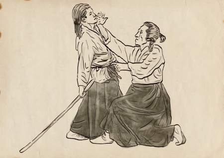 Aikido, Japanese martial art   Original hand drawing Stock Photo - 17479620