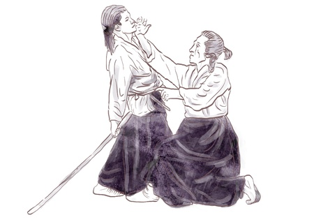 Aikido, Japanese martial art   Original hand drawing   Stock Photo - 17439506