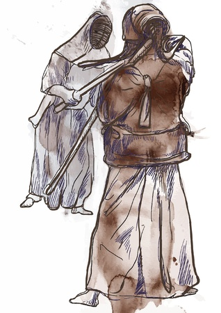 martial ways: Budo, Japanese martial art and philosophy way   Illustration