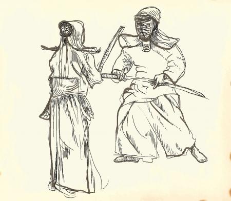 budo: Budo, Japanese martial art and philosophy way   Illustration
