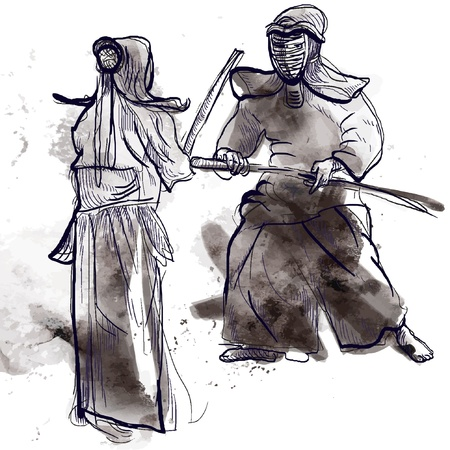 Budo, Japanese martial art and philosophy way   Illustration