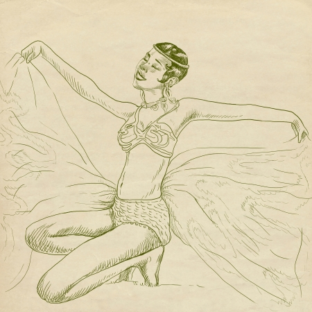 provocative pose of unknown cancan artist