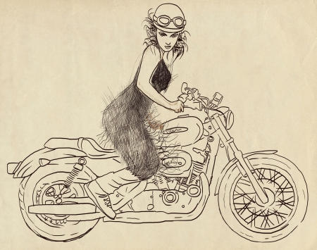 irritant: woman posing on a powerful motorcycle Stock Photo