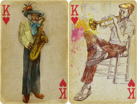 accords: trumpeter and saxophonist - hand drawing