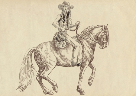 steeplechase: beauty with long hair riding a horse Stock Photo