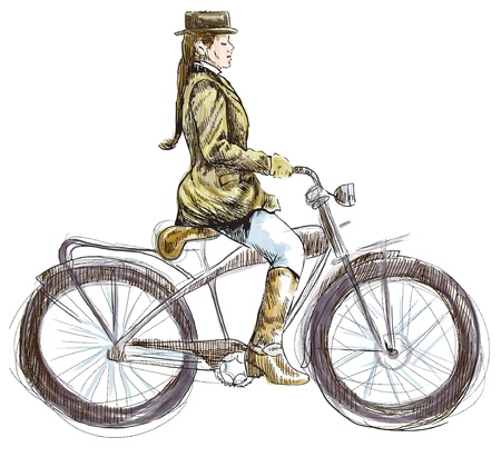 Weighted lady on bicycle - hand drawing converted into vector Stock Vector - 17577041
