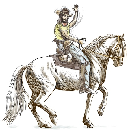 draft horse: Cowboy on horseback - hand drawing converted into vector  Illustration