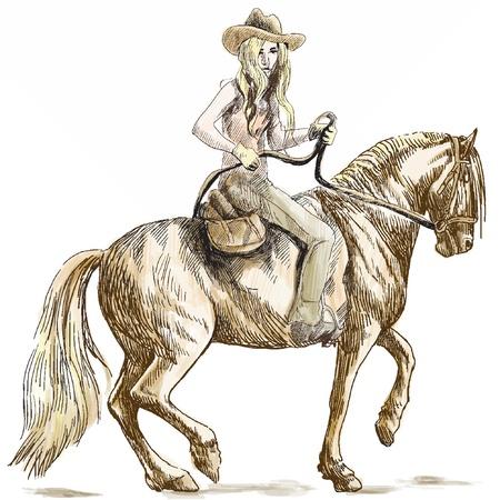 Beauty Cowgirl con el pelo largo que monta un caballo - ilustración dibujados a mano convertida en vector Ilustración de vector