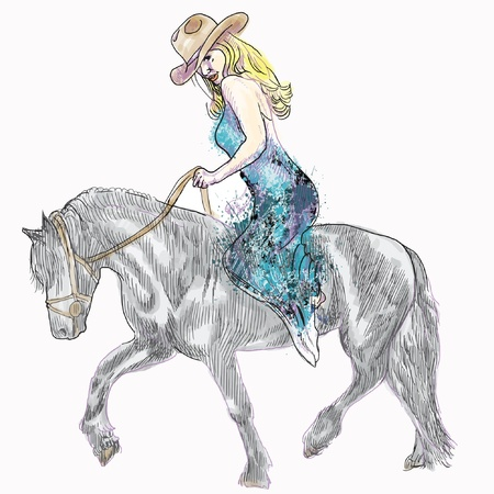 steeplechase: Cowgirl  Beauty with long hair riding a horse - hand drawn illustration converted into vector