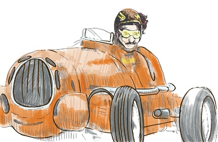 Moto racer driving old  veteran  fast car - a hand drawn illustration converted into vector  Stock Vector - 17577039