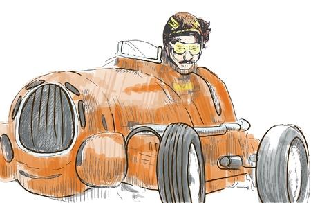 Moto Racer fahren alter Veteran schnelles Auto - eine Hand gezeichnete Illustration umgewandelt vector