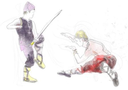 legendary origins: Kung Fu, Chinese martial art      A hand drawn illustration Stock Photo
