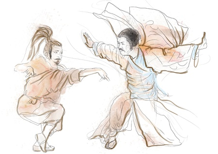chinese philosophy: Kung Fu, Chinese martial art      A hand drawn illustration Stock Photo