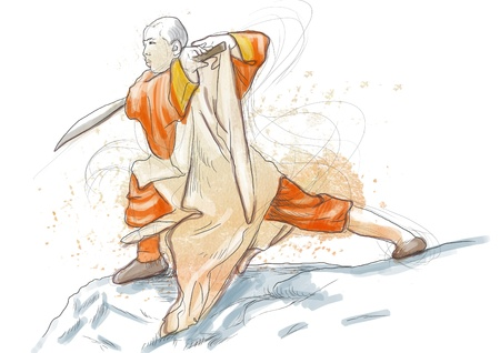 Kung Fu, Chinese martial art      A hand drawn illustration Stock Illustration - 17728573