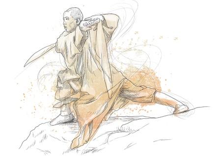 Kung Fu, Chinese martial art      A hand drawn illustration Stock Illustration - 17657567