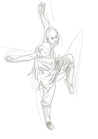 martial ways: Kung Fu, Chinese martial art      A hand drawn illustration Stock Photo