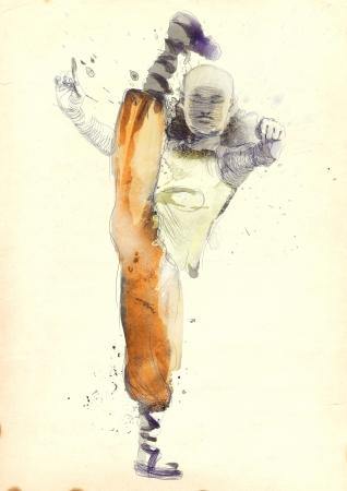 kung fu: Kung Fu, Chinese martial art      A hand drawn illustration Stock Photo