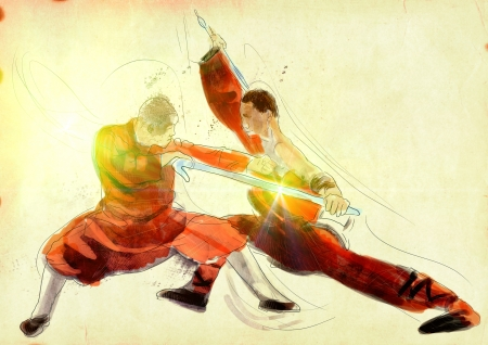 fighting styles: Kung Fu, Chinese martial art  A hand drawn illustration Stock Photo