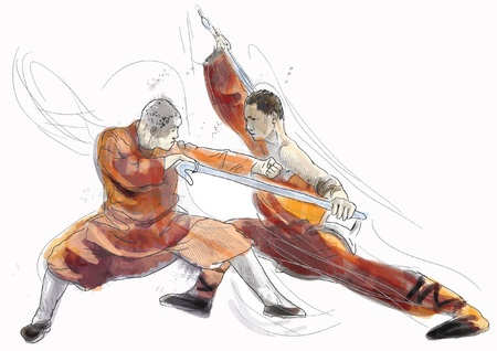 fighting styles: Kung Fu, Chinese martial art  A hand drawn illustration Illustration