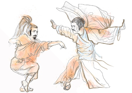 beat the competition: Kung Fu, Chinese martial art  Hand drawing into vector