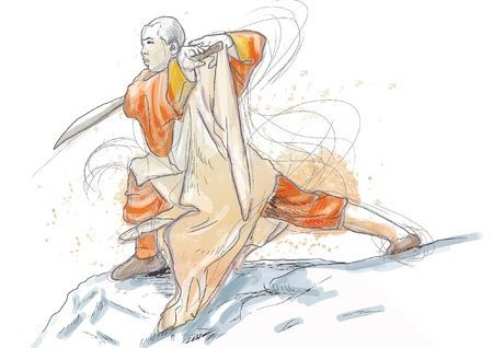 martial ways: Kung Fu, Chinese martial art  Hand drawing into vector