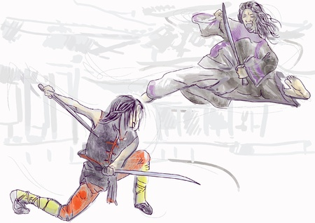 fighting styles: Kung Fu, Chinese martial art  Hand drawing into vector