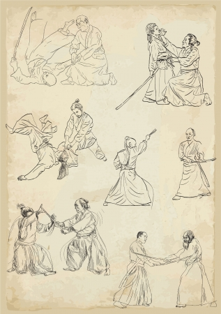 grappling: Aikido - Japanese martial way      Collection of vector sketches in a simple contours