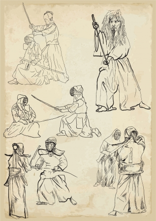 Budo - Japanese martial philosophy      Collection of vector sketches in a simple contours  Vector