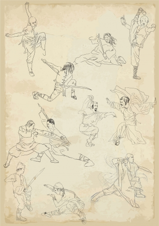 chinese philosophy: Kung fu - Chinese martial art      Collection of vector sketches in a simple contours