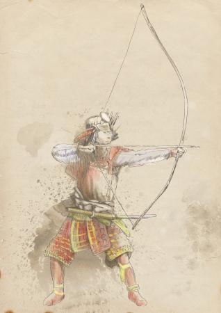 legendary origins: Kyudo - modern Japanese martial art      A hand drawn illustration of an Samurai