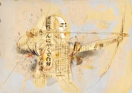 Kyudo - modern Japanese martial art      A hand drawn illustration of an Samurai  illustration