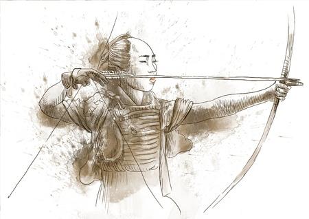 Kyudo - moderna arte marziale giapponese Una mano disegnato illustrazione di un Samurai Archivio Fotografico - 17758636