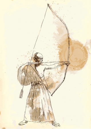 archery: Kyudo - modern Japanese martial art  A hand drawn illustration converted into vector