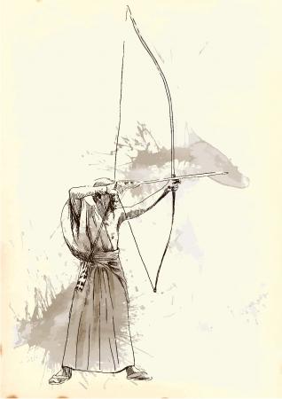 legendary origins: Kyudo - modern Japanese martial art  A hand drawn illustration converted into vector