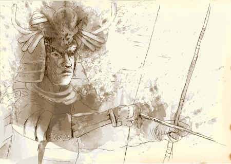 martial ways: Kyudo - modern Japanese martial art  A hand drawn illustration converted into vector