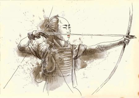 Kyudo - moderne japanische Kampfkunst Eine Hand gezeichnete Illustration in Vektor umgewandelt