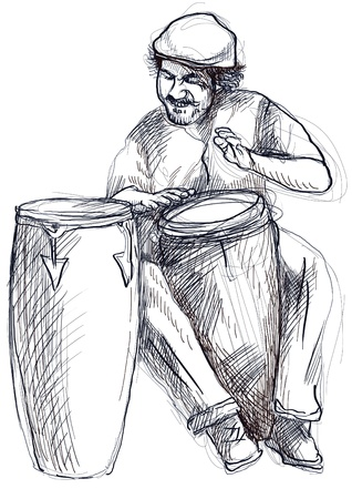 virtuoso: Afro-Caribbean rhythms from passionate drummer      A hand drawn illustration of an excellent drummer