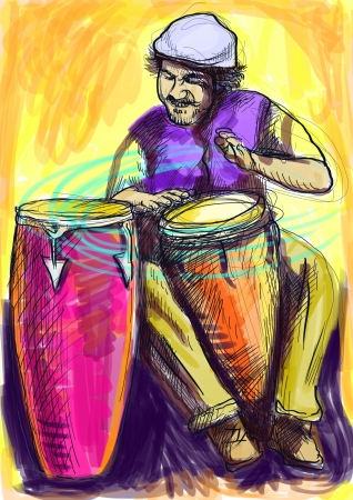Afro-Caribbean rhythms from passionate drummer      A hand drawn illustration of an excellent drummer  illustration