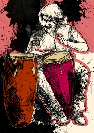 rhythms: Afro-Caribbean rhythms from passionate drummer      A hand drawn illustration of an excellent drummer