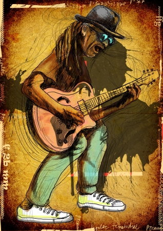 blues music: Guitarist, whole body and soul      A hand drawn illustration of an excellent guitar player