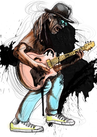 masters of rock: Guitarist, whole body and soul      A hand drawn illustration of an excellent guitar player