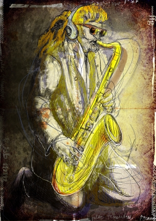 accords: Saxophonist, whole body and soul      A hand drawn illustration of an excellent sax player