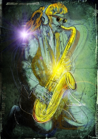 virtuoso: Saxophonist, whole body and soul      A hand drawn illustration of an excellent sax player