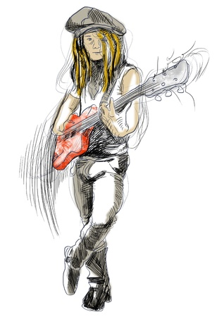accords: Promising guitarist - young rocker      A hand drawn illustration of an excellent guitar player