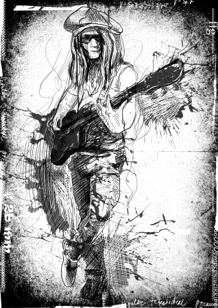 virtuoso: Promising guitarist - young rocker      A hand drawn illustration of an excellent guitar player