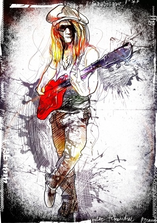 promising: Promising guitarist - young rocker      A hand drawn illustration of an excellent guitar player