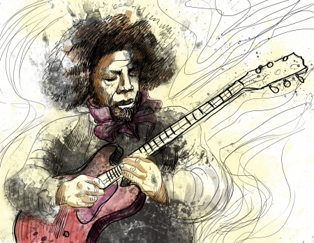 accords: Guitar Virtuoso      A hand drawn illustration of an excellent guitar player