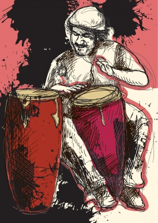 Afro-Caribbean rhythms from passionate drummer  A hand drawn illustration converted into vector of an excellent drummer  Vector