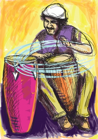 acustica: Afro-caraibici ritmi batterista appassionato Una mano disegnato illustrazione convertiti in di un eccellente batterista
